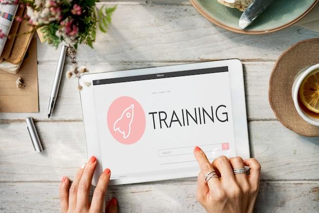Concepto de plan de lanzamiento de nuevos negocios de formación