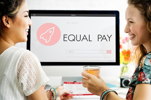 Concepto de plan de lanzamiento de nuevos negocios de igualdad de remuneración