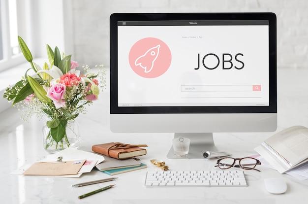 Concepto de plan de lanzamiento de nuevos negocios de puestos de trabajo