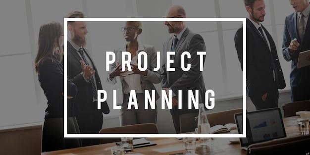 Concepto de plan de personas que trabajan de negocios