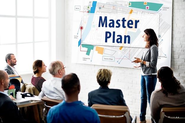 Concepto de planificación de diseño de tácticas de visión de estrategia de plan maestro