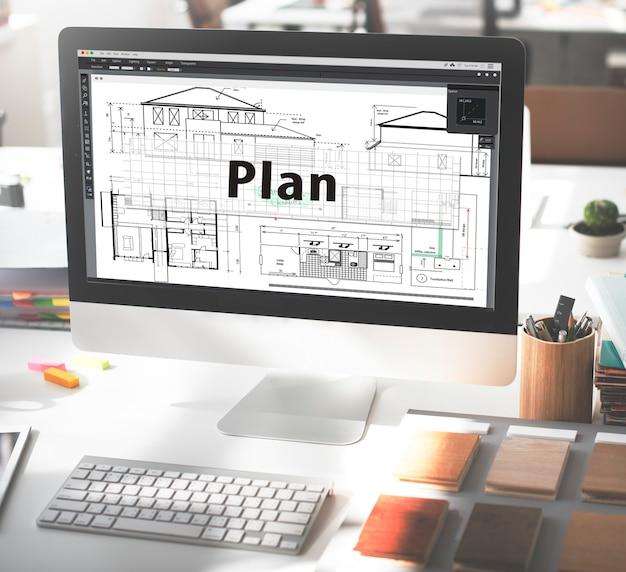 Concepto de planificación de diseño de tácticas de visión de estrategia de plan