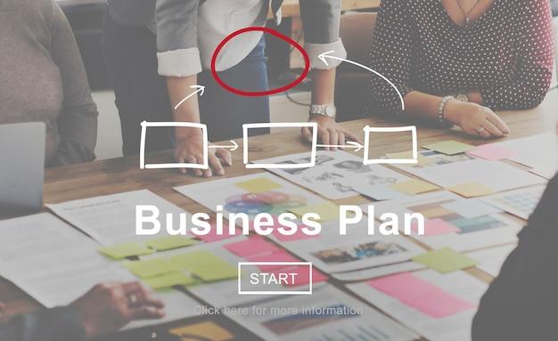 Concepto de planificación de la visión de la estrategia de marketing del plan de negocios