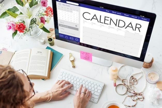 Concepto de planificador de organizador de fecha de calendario