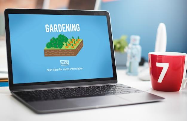 Concepto de plantación de plantas de granja de jardín de jardinería