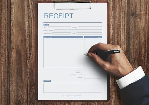 Concepto de plantilla de factura de recibo de pago