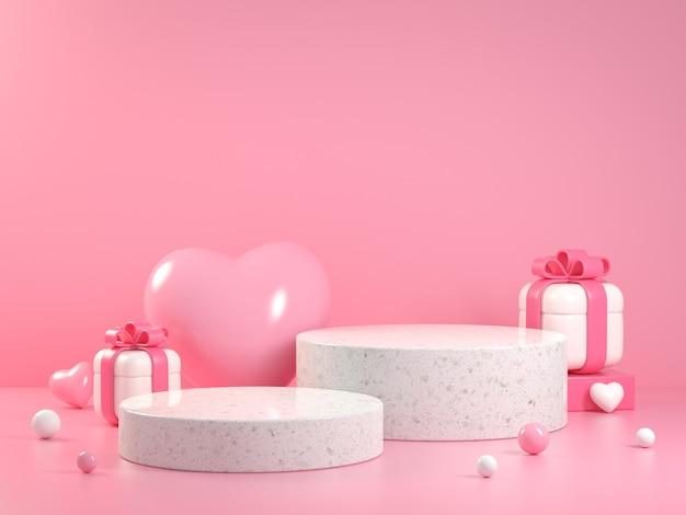 Concepto de plataforma de colección de san valentín rosa suave con caja de regalo fondo abstracto render 3d