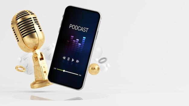 Concepto de podcast smartphone renderizado 3d