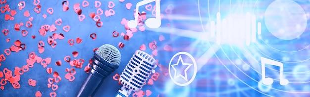 El concepto de presentaciones en los medios. micrófono retro en el fondo. cartel de concierto y espectáculo. portada del álbum de música.