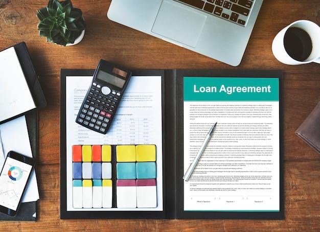 Concepto de préstamo de crédito de capital de presupuesto de acuerdo de préstamo