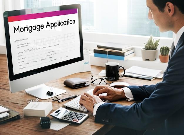 Concepto de préstamo hipotecario de solicitud de hipoteca
