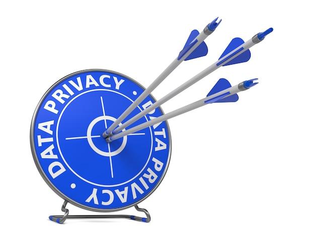 Concepto de privacidad de datos. tres flechas en blanco azul.