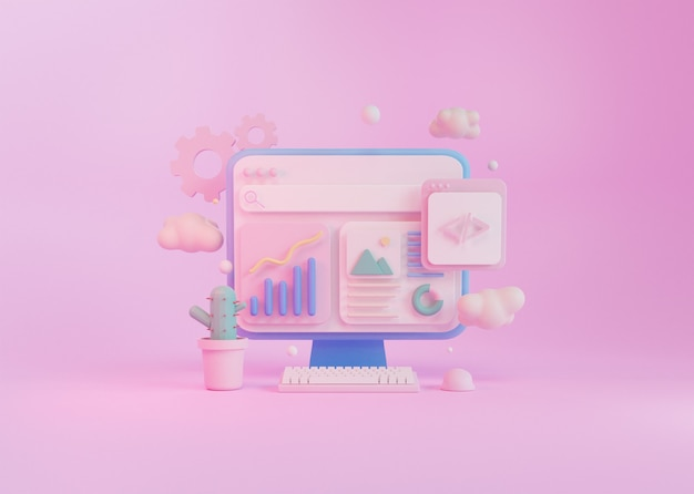 Concepto de procesamiento 3d, desarrollo de programación informática, con teclado, ratón y cactus.
