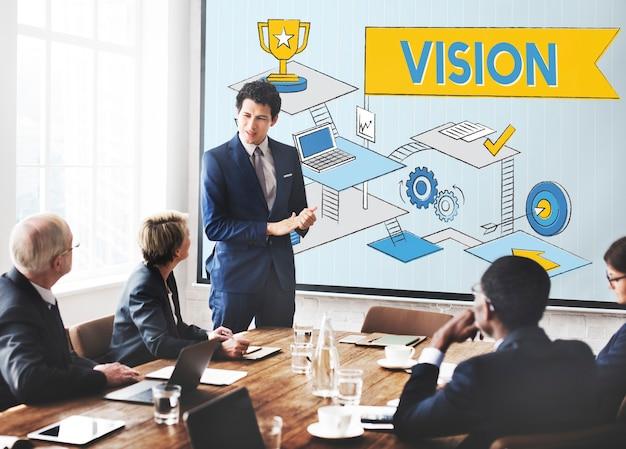 Concepto de proceso de aspiraciones de planificación de misión de visión