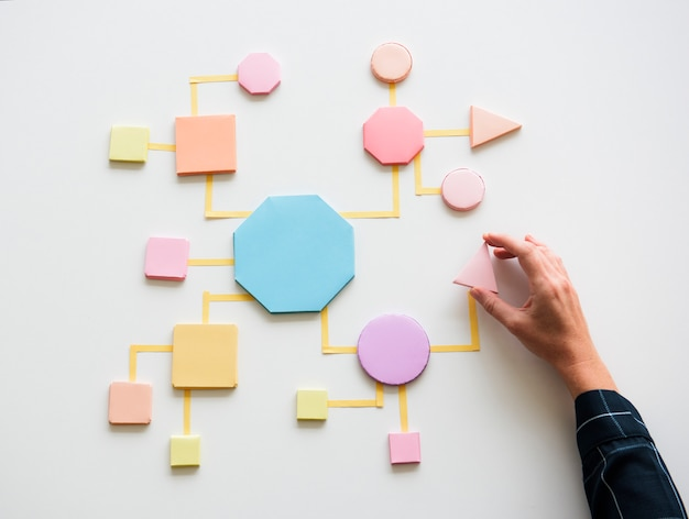 Concepto de proceso de negocio formas de papel