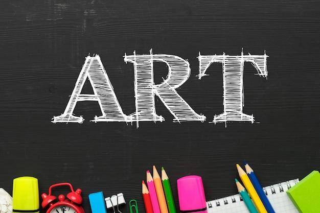 Concepto de programa educativo para la enseñanza del arte con vista superior.