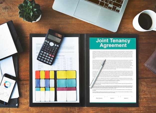 Concepto de propiedad de arrendamiento conjunto de contrato de arrendamiento