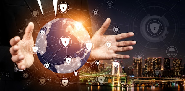 Concepto de protección de datos digitales y seguridad cibernética