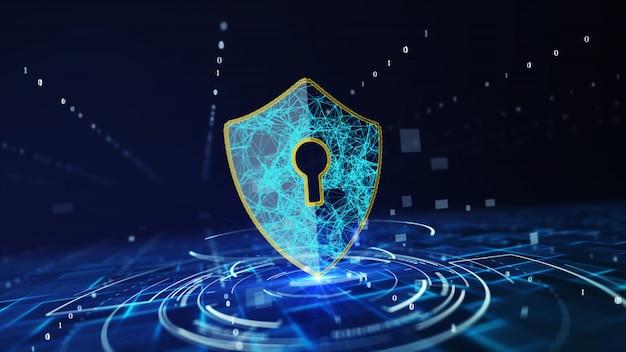 Concepto de protección de datos de seguridad cibernética.