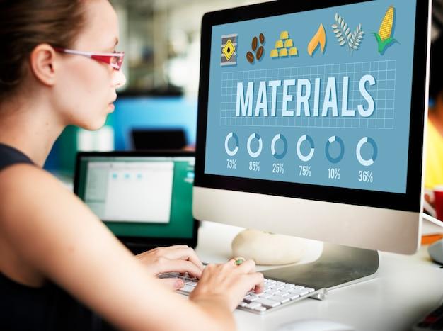 Concepto de proyecto de industria de diseño creativo de construcción de materiales