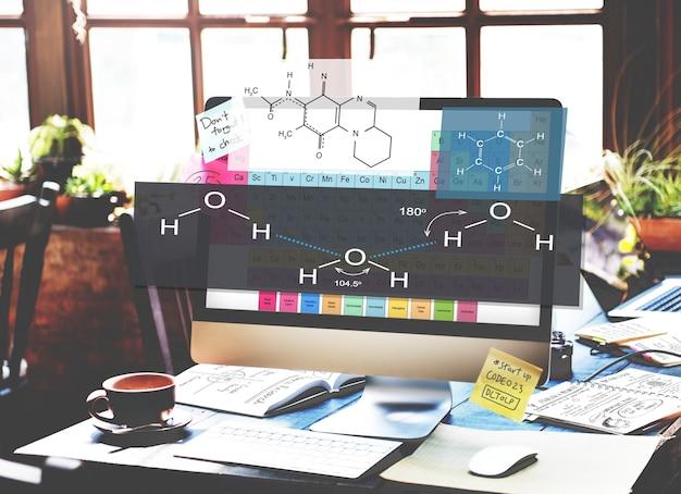 Concepto de química de átomo de experimento de fórmula