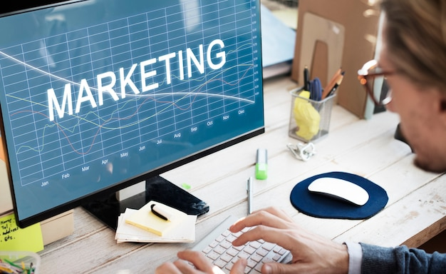 Concepto de recesión de marketing de finanzas empresariales
