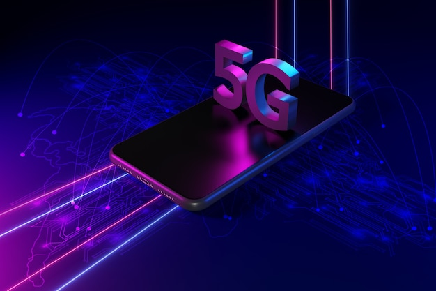 Concepto de red 5g, internet de alta velocidad, tecnología inalámbrica de red, renderizado 3d