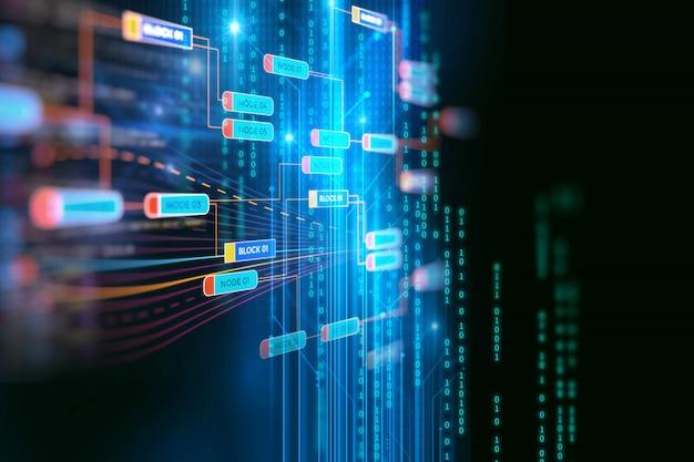 Concepto de red de la cadena de bloque sobre fondo de tecnología