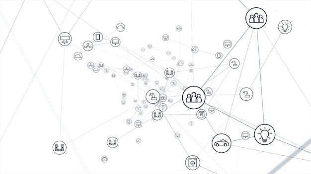 Concepto de red global. iot (internet de las cosas).