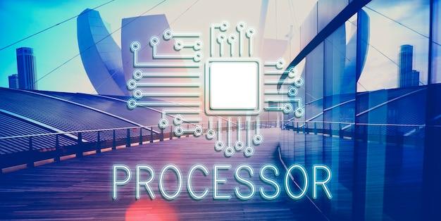 Concepto de red de innovación de procesador de circuito de tecnología