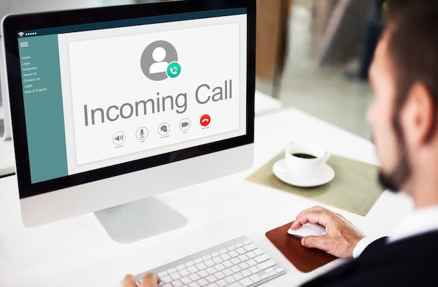 Concepto de redes de conexión de comunicación de llamadas