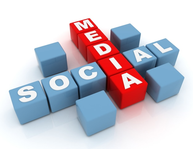 Concepto de redes sociales 3d