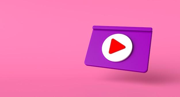Concepto de redes sociales de la página web. ilustración del icono de reproducción de video. render 3d