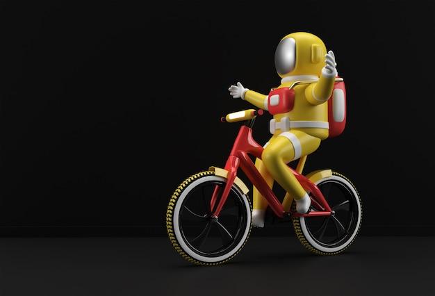 Concepto de renderizado 3d de bicicleta astronauta ilustración de diseño de arte 3d.