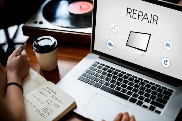 Concepto de reparación de asistencia técnica tecnológica