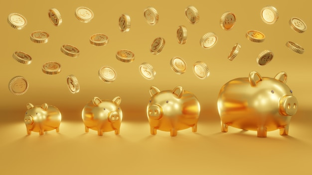 Concepto de representación 3d de huchas de oro en varios tamaños sobre fondo de oro con monedas cayendo