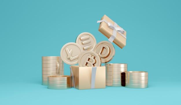 Concepto de representación 3d de símbolos de criptomonedas en monedas explotan fuera de la caja de regalo en el fondo