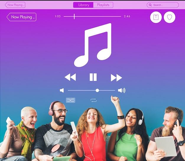 Concepto de reproductor multimedia de sonido de música