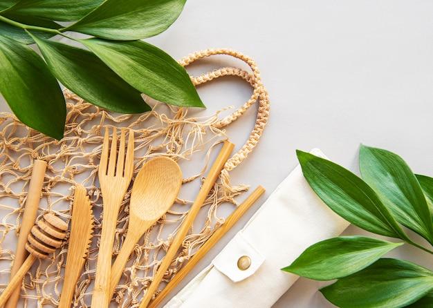 Concepto de residuos cero utensilios de cocina