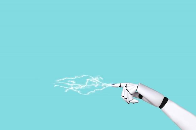 Concepto de robot de mano 4.0 y tecnología ola eléctrica.