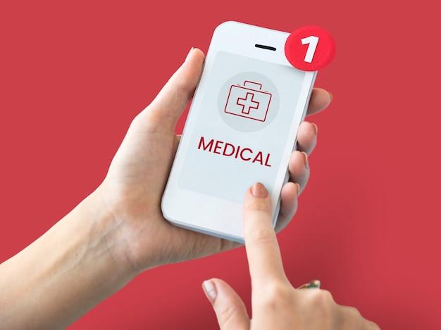 Concepto de salud en la pantalla de un dispositivo