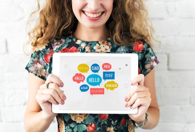 Concepto de saludo de bocadillo de diálogo de diferentes idiomas