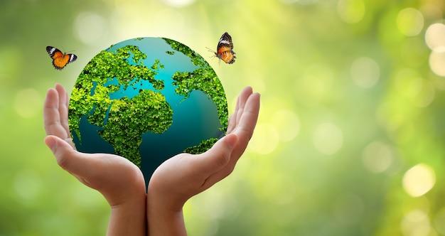 Concepto salvar el mundo salvar el medio ambiente el mundo está en la hierba del fondo verde bokeh