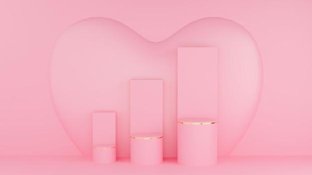 Concepto de san valentín. podio circular de color rosa pastel y borde dorado con tres rangos y gráfico y corazón rosa.