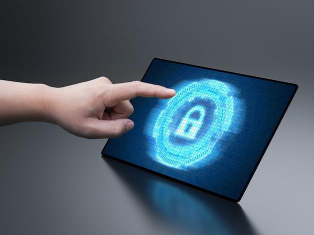 Concepto de seguridad cibernética con candado de visualización de pantalla digital
