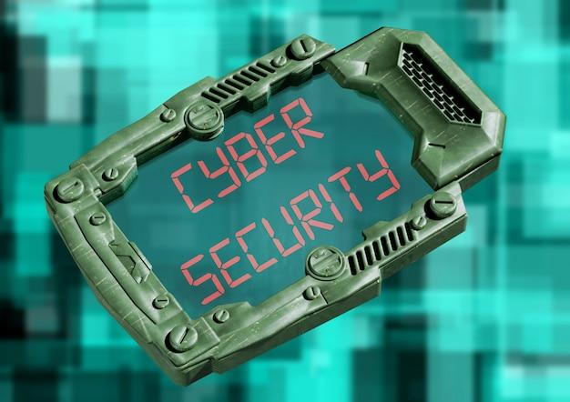 Concepto de seguridad cibernética. comunicador futurista de ciencia ficción con pantalla transparente