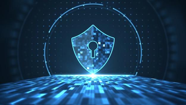 Concepto de seguridad cibernética. escudo con el icono de ojo de cerradura en el centro digital de datos grandes abstractos.