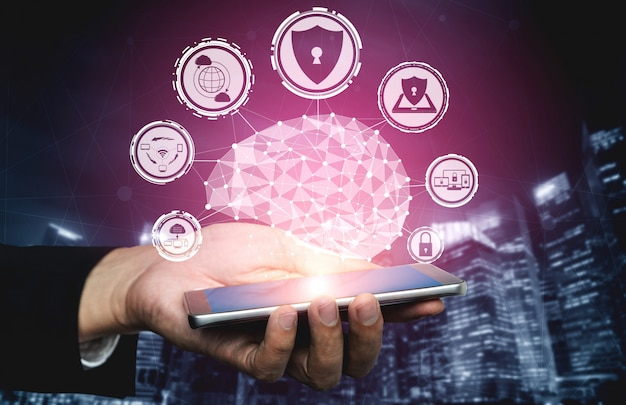 Concepto de seguridad cibernética y protección de datos digitales