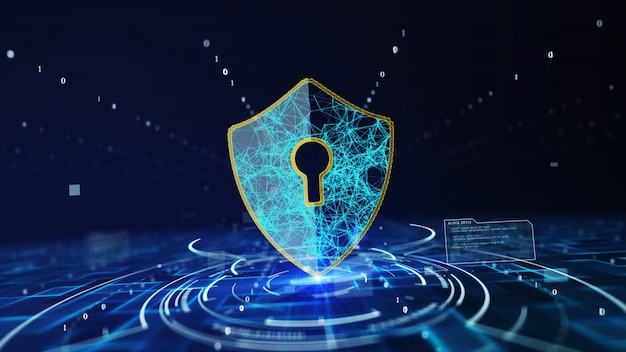 Concepto de seguridad cibernética de protección de datos con el icono de escudo en el espacio cibernético.