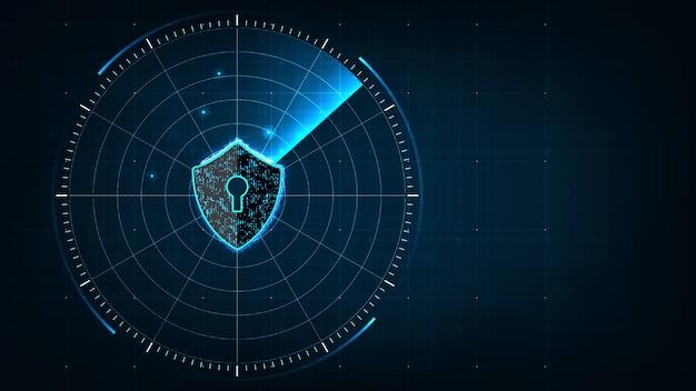 Concepto de seguridad cibernética de la tecnología de internet de proteger y explorar el ataque de virus informático